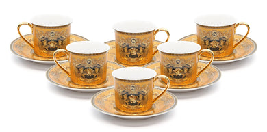 Royalty Porcelain 12-pc Luxury Yellow Greek Key Mini Espresso Turkish Coffee SET