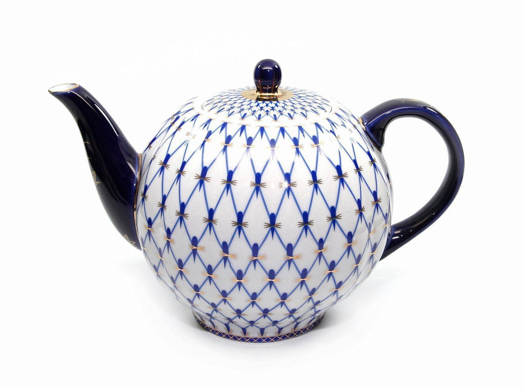 Lomonosov Ornament 60 Oz Teapot Kettle, Russian Saint Petersburg Cobalt Blue Net