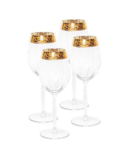 Italian Collection Crystal 12 Oz 'Alessandra' Water Beverage Glasses, Gold Rim