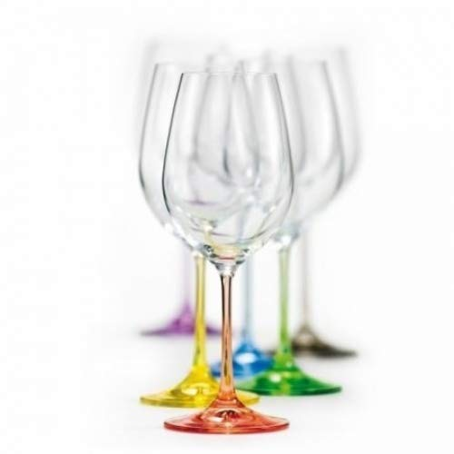 Bohemian Crystal Set of 6 White Wine Crystal Glasses 12 Oz Stem Different Color