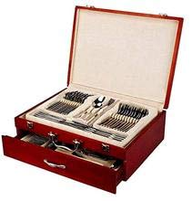 Italian Collection Flatware Wooden Box for Flatware with Drawer 65-Pc