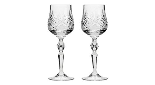 Set of 2 Vintage Russian Crystal Classic Wine Goblets on a Stem 7.5