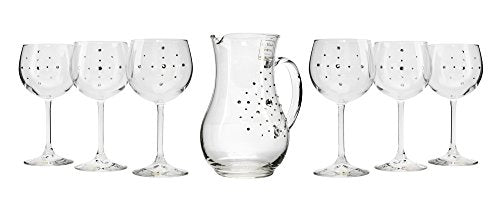 Italian Collection Decanter With Wine Glasses, Multi Swarovski Crystal