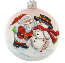 GIFTS PLAZA (D) Handpainted Landscape Ornament Christmas Tree Decoration (Santa and Snowman)