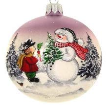 GIFTS PLAZA (D) Handpainted Landscape Ornament Christmas Tree Decoration (Santa and Boy)