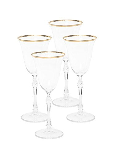Italian Collection Crystal 10 Oz 'Vanessa' Wine Goblet Glasses, 24K Gold Rim