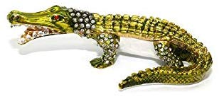 Faberge Box Decorative Figurines with Swarovski, Souvenir Green Alligator, Gift for Birthday