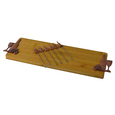 (D) Bamboo Cheese Board, Wooden Board with Copper Picks 7-pc 'Wine'