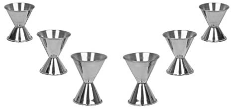 Alcohol Jiggers 1 and 2 oz, 3/4 and 1 1/2 oz, 1/2 and 1 Oz, Barware (6 PC)