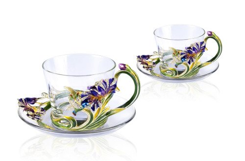 RORO Luxury Enameled 24K Gold Handmade Coffee Set, Bohemian Crystal + Swarovski