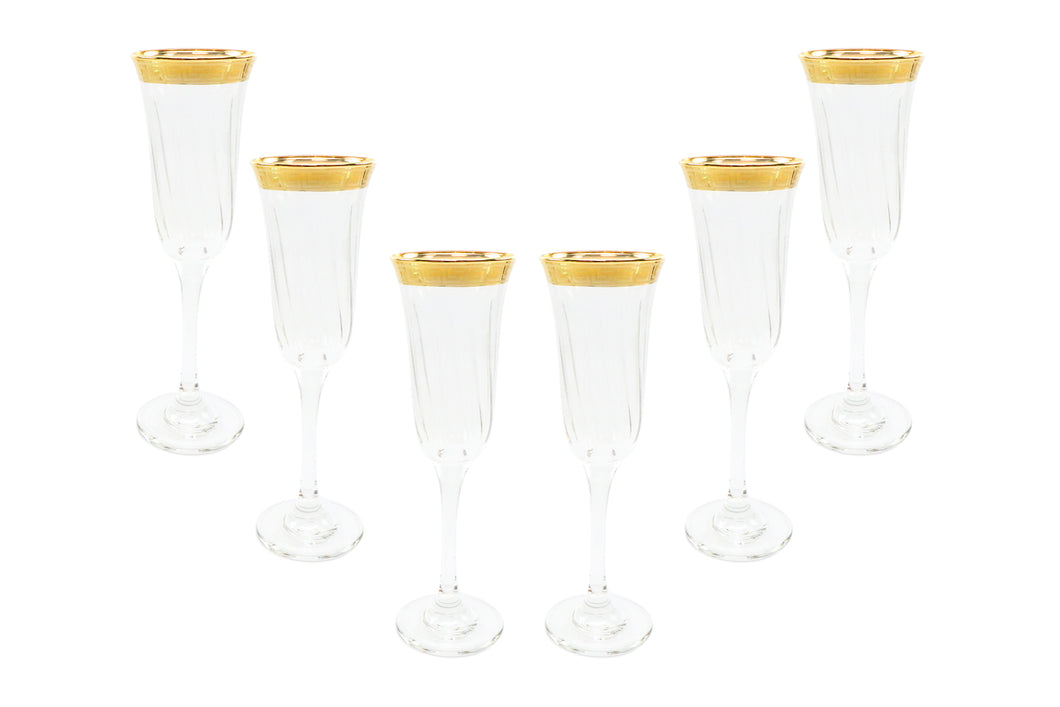 Italian Collection Crystal 24K Gold Rim Champagne Flute Glasses, Vintage Pattern
