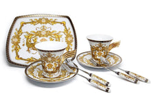 Royalty Porcelain 9-pc White Cake Dessert Set for Tea or Coffee, Luxury Medusa