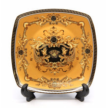 "Royalty Porcelain Yellow 7"" Salad/Dessert Plates, Luxury Greek Key 24K, 6-pc"