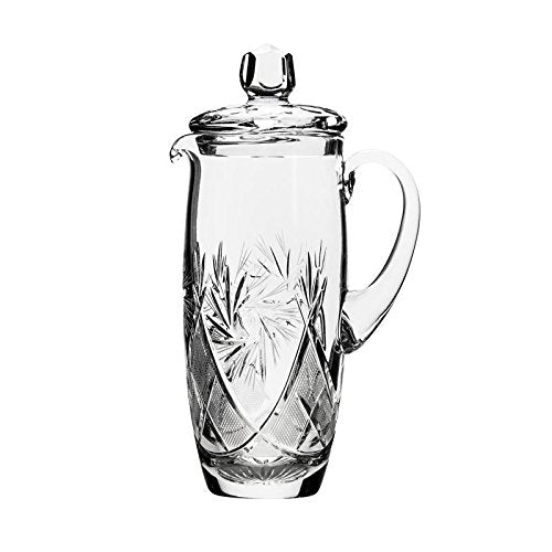 Neman Glassworks, 34-Oz Russian Crystal Pitcher, Vintage Glass Beverage Carafe