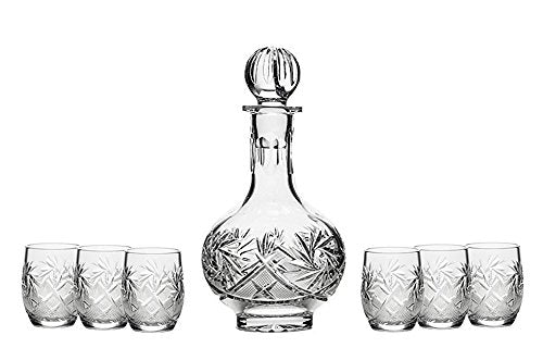 Set of 7 12-Oz Vintage Cut Crystal Liquor Decanter Set with 6 Shot Glasses