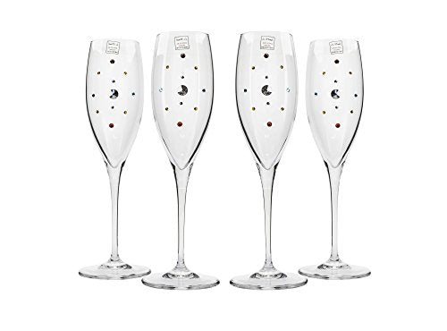 Italian Collection Champagne Flutes Set, Multicolored Swarovski Crystal