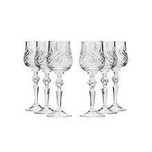 Neman Glassworks, 8oz Russian Crystal Wine Glasses, Goblets on a Stem Set of 6