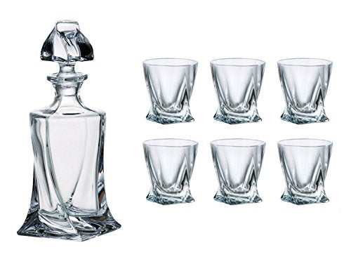 Crystalex Bohemia Quadro Set, 1 Glass 17Oz Decanter, Stopper and 6 Shot Glasses