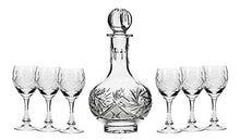 Set of 7 12-Oz Cut Crystal Liquor Decanter Set with 6 Glasses, Russian Carafe