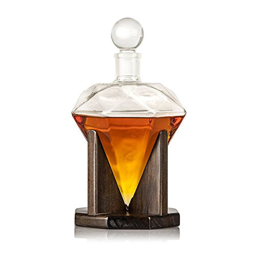 Large 40oz 'Diamond' Handmade Whiskey Decanter Set with Wooden Stand, Bar Funnel