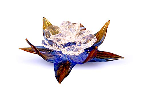 (D) Clear Crystal Amber Flower Figurine 4-inch