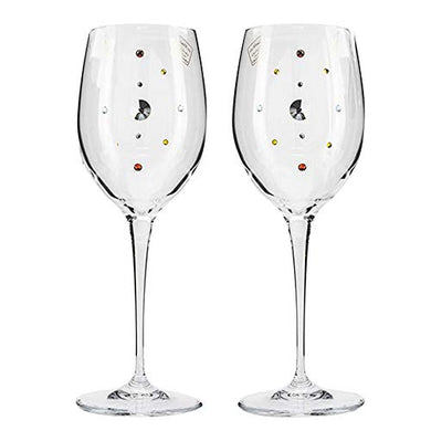Italian Collection Crystal Wine Glasses 2pc Multi-Color Swarovski Crystal 9 Inch