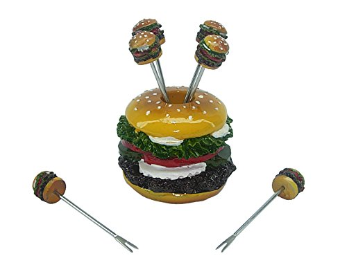 (D) 7-pc Cute Fruit Picks Set Hamburger for Home Party Decoration and Tableware Decoration