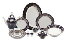 Royalty Porcelain 49pc Banquet Dinnerware Set for 8, Gold Bone China (966-49)