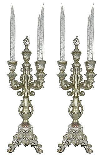 (D) Set of 2 - pc Original Silver Baroque Candle Holders 21