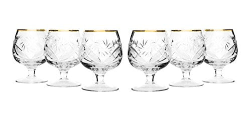Set of 6 Neman Glassworks, 7-Oz Gold Rim Russian Vintage Crystal Cognac Snifters