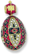 (D) Religious Gifts Enamel Faberge Style Silver Egg Swarovski Ornaments (Red)