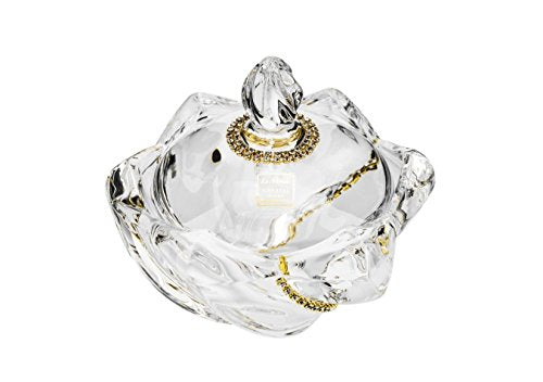 Le Monde Cadeaux, Swarovski Jeweled 5''D Crystal Bowl with Lid,  Jewelry Box