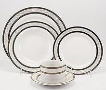 Royalty Porcelain 20pc White Dinnerware Set For 4,  with Greek pattern