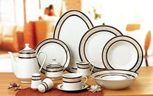 Royalty Porcelain 57pc Banquet Dinnerware Set for 8, Bone China, Black Greek Key