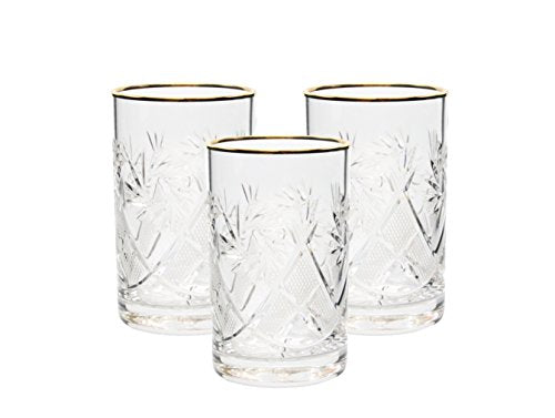 Set of 3 Vintage Russian Crystal Tea Glasses For Metal Holder 'Podstakannik'