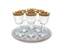 Italian Collection Crystal 12oz Wine Goblet Glasses, Gold Rim, Greek Key Pattern