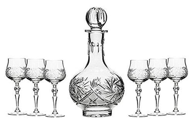 Set of 7 16-Oz Cut Crystal Decanter Set with 6 Sherry Glasses, Russian Carafe