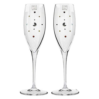 Italian Collection Crystal Champagne Glasses Set 2pc, Swarovski Crystal 9 Inch