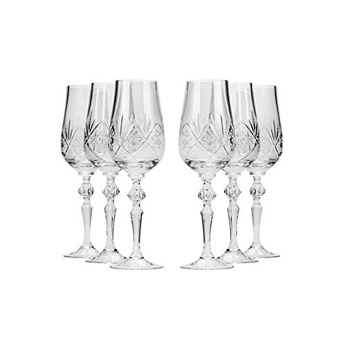 Neman, 7oz Handmade Vintage Russian Crystal Glasses Set of 6, Champagne Flutes