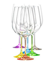 Bohemia Collection Rainbow Set of 6 Wine Multi Colored Crystal Glasses, 12 Oz