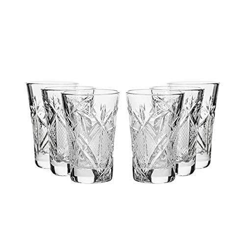 Set of 6, 1.2-Oz Hand Made Vintage Russian Crystal Glasses, Vodka Shots Old-fashioned Glassware