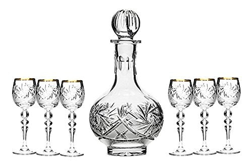 Set of 7 12-Oz Cut Crystal Decanter Set with 6 Sherry Glasses, Russian Carafe