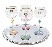 Italian Collection Crystal 12oz 'Ambra' Water or Wine Goblet Multi Colored Stem