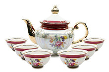 Royalty Porcelain 7pc Tea Cup Set and Teapot, Czech Cobalt Red Floral Pattern
