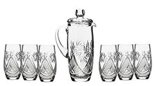 Set of 7 35-Oz Hand Made Vintage Cut Crystal Beverage Carafe with 6 Tumblers