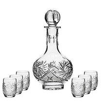 "Combination Russian Cut Crystal 12Oz Carafe/decanter & 6 Shot Glasses ""Barrell"""