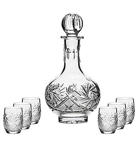 Combination Russian Cut Crystal 12Oz Carafe/decanter & 6 Shot Glasses