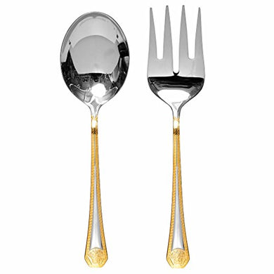 Italian Collection 'Greek Key' 2-Pc Premium Silverware Flatware Serving Set