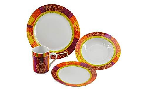 (D) Royalty Porcelain Indian Style Floral Design Red and Yellow Dinnerware Set 16-pc