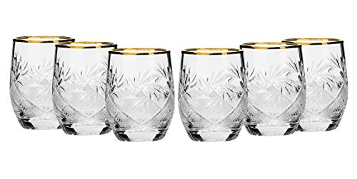 Set of 6 Russian Cut Crystal Shot Glasses 24K Gold Rim 1.7 Oz Vodka Liquor
